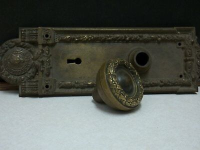 Antique YALE & TOWNE DOOR KNOB AND BACKPLATE from old COUNTY COURT BLDG CHICAGO