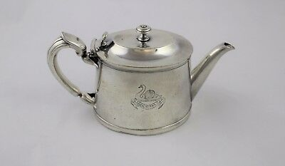 Vintage CHRISTOFLE Hotel Silver Teapot CALIFORNIA with Swan Logo FRANCE