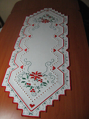 Magic hardanger embroidered table runner with decorative Christmas stars