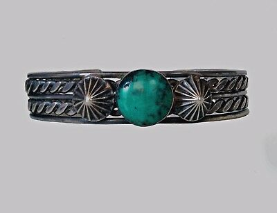 Vintage Navajo Silver Turquoise Bracelet Native American Jewelry old & right