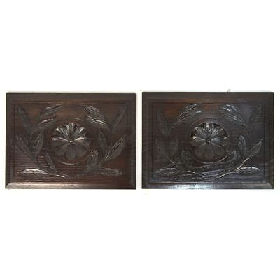 Pair Antique Carved Oak Architectural Salvaged Panels Flower / Leaf