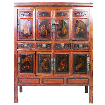 "Antique Chinese Large 8 Door Cabinet, Gilded Designs, 54"" wide x 70"" Tall"
