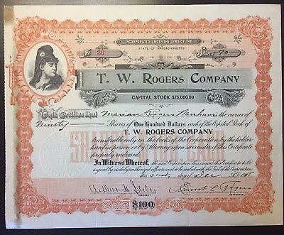 1915 T.W. Rogers Co. Stock Certificate RARE Lynn MA Dept Store! High $$ Revenues