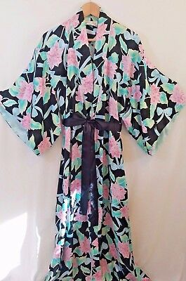 VINTAGE 60s CHRISTIAN DIOR SILKY WOMENS BLACK BLUE PINK FLORAL KIMONO LONG ROBE