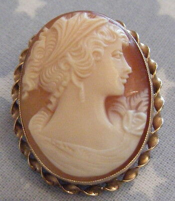 Beautiful Antique 9ct Rose Gold Mounted Carved Cameo Brooch Gift