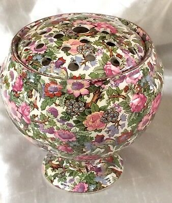 Antique Vintage Crown Ducal Chintz Pottery Rose Bowl & Cover,large Early Piece
