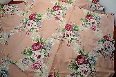 3 Vintage Cottage Cabbage Roses Cushion Cut-Outs Chintz Glaze Barkcloth Era