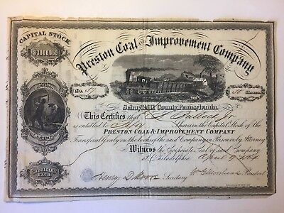 1864 Preston Coal Stock Certificate Signed by Henry Dunning Moore Colorado Miner