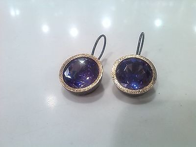 Silver Earring With Besel 18Ct Gold  Natural Amathyst / Rrp~259€ / -80€ Off!!!