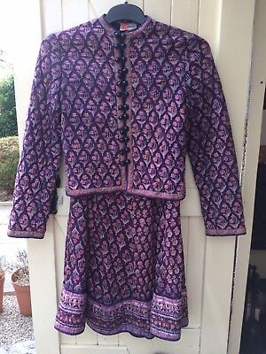 Vintage 70's Phool Indian Cotton Quilted Jacket & Skirt, Purple, Gold Detail