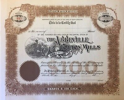 1920 Abbeville Cotton Mills Stock Certificate Slave Vignette RARE South Carolina