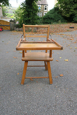 Vintage Child's Wooden Chair with Flip Over Tray