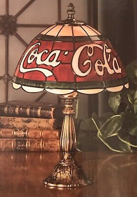 New Tiffany Style Coca-Cola Stained Glass Table Lamp Vintage, 2003 15.5""