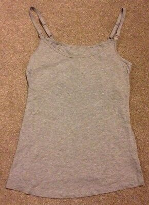 Size 12 Maternity New Look Grey Nursing/Breastfeeding Vest Top Adjustable Straps