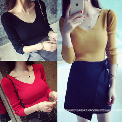 Fashion Women Ladies Stretch V Neck Slim Thin Pullover Knitted Shirt Blouse Tops