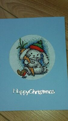 Completed cross stitch Christmas card