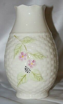 Belleek Ireland porcelain flower vase Summer Briar pattern brown mark