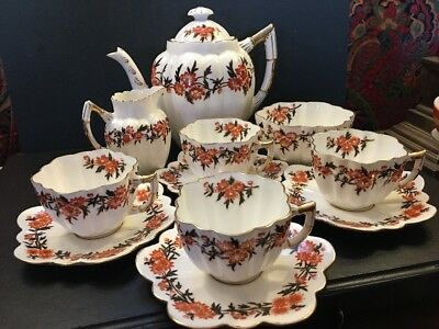 Rare Tea Set Antique Wileman Shelley Foley Victorian Daisy Shape tea set for 4