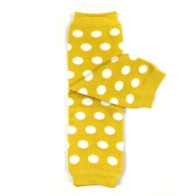 Bowbear Baby Polka Dot and Solid Color Leg Warmers Yellow and White Dots