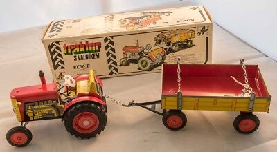 Kovap Letor tractor and trailer - working wind-up tin toy