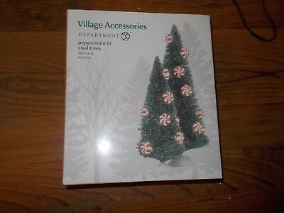 Dept 56 Village Accessories Lighted Peppermint Lit sisal Trees  candy cane