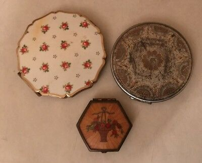 Job Lot Vintage Powder Compacts Stratton & Houbigant Flower Basket 30's-50's