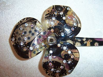 Gorgeous Vintage Colorful Rhinestone Celluloid Hair Pin