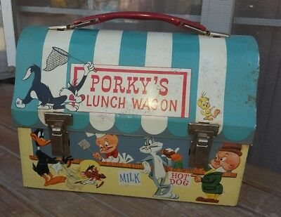 1959 Vintage Dome top Porky's Lunch Wagon Metal Tin Lunchbox Lunch Box Rarity 8