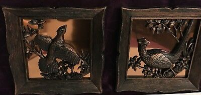 Qty 2- COPPER FRAMED PHEASANT SPORT HUNTING WALLHANGING PICTURE DECOR USA