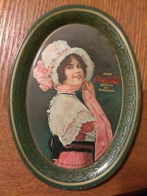 """1914 Coca-Cola Tin Lithograph Advertising Tip Tray """"betty"""" Coke Change Tray"""