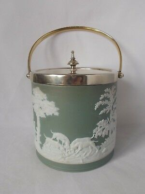 Early Wedgwood Green Dip Lidded Hunting Scene Biscuit Barrell