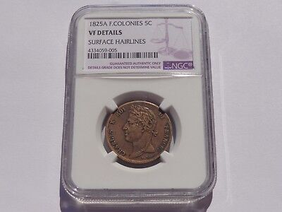 1825 A French Colonies King Charles X 5 Centimes Ngc Vf No Reserve! Must See!!