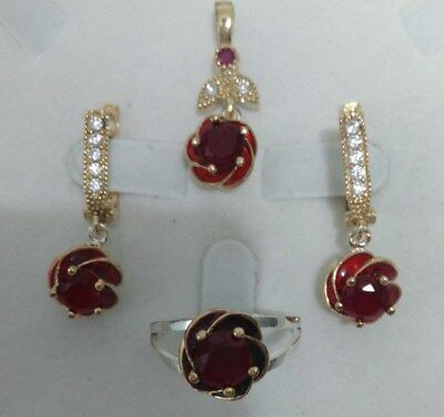 925 Sterling Silver Handmade Jewelry  Sublime Malagasy Red Ruby Sets