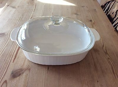 Corning Ware F-14-B Oval Covered Casserole Dish 4 Qt Roaster French White Pyrex