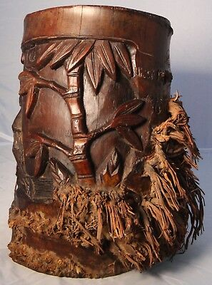Antique Bamboo  Root Hand  Carved