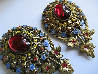 Pair Of Victorian Glass Cabochon Scarf Clips