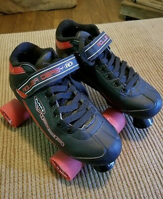 Mens M4 Viper roller derby skates size 7 red and black