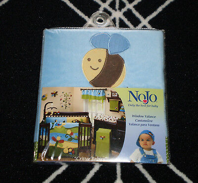 NEW Nojo Critter Babies Window Valance Blue Green Bumble Bee Baby Nursery