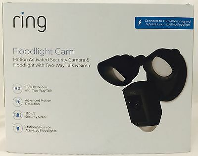 Ring Outdoor Wi-Fi Camera Floodlight Security Video Camera Black (Open/No Box)