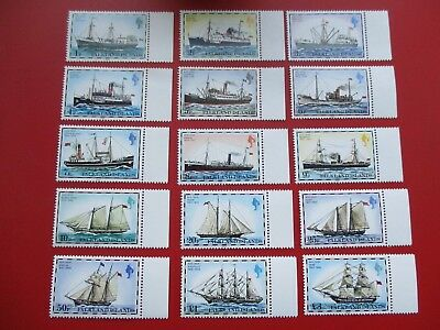 Falkland Islands 1982 - Set of 15 mint stamps - ships & boats 1p to £3 (ref 739)