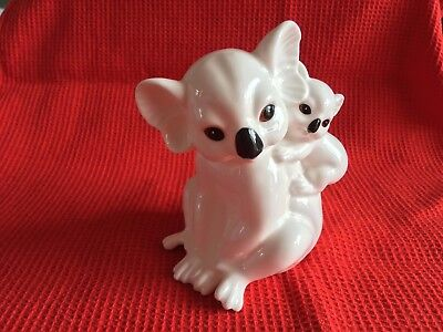 "Vintage Royal Osborne White Bone China ""kaola & Baby"" Figurine Mmr-2713"