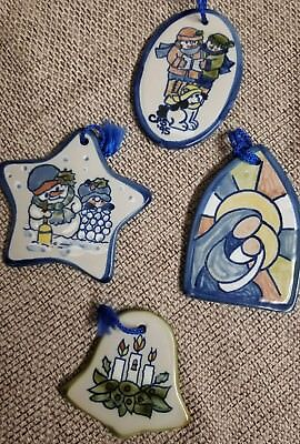 Louisville Stoneware lot of 4 Christmas Ornaments