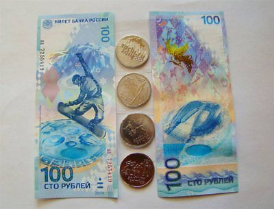 Russia 25 rubles 2014 Full Set UNC + 100 rubles 2014 UNC + album Olympic Games