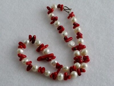 """Red Branch Stick Coral Natural White Baroque Pearl Choker Necklace 925 Clasp 17"""""""