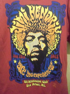 JIMI HENDRIX 5th Dimension club Ann Arbor, Mich. men's graphic t shirt L red