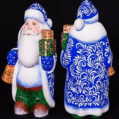 Russian hand carved wood Santa Claus Christmas Hand Painted wooden figurine 6.7""