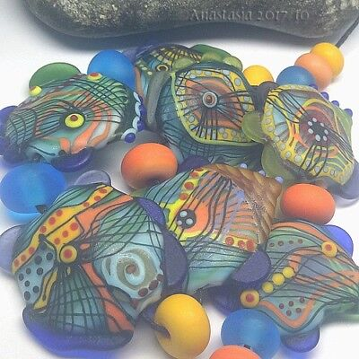 "ANASTASIA--handmade lampwork beads--(7)--""INDIAN SUMMER""--SRA"