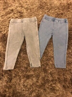 Girls 18-24 Months Jeggings Light Blue And Grey River Island Excellent Condition