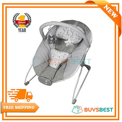 Red Kite Grey Linen Cozy Bounce Musical Vibrating Baby Bouncer Chair