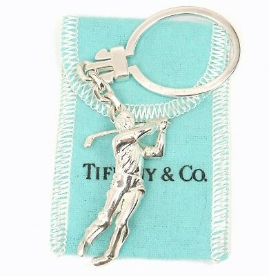 Rare Vintage Tiffany & Co Sterling Silver Golf Player Key Ring Keychain Germany